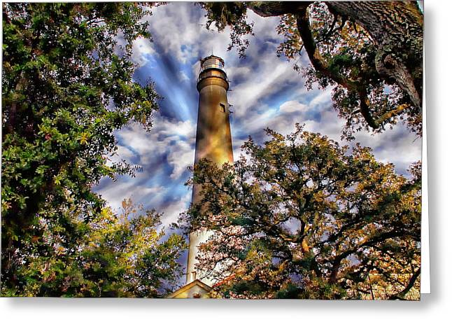 Florida Panhandle Digital Greeting Cards - Pensacola Lighthouse Greeting Card by Anthony Dezenzio