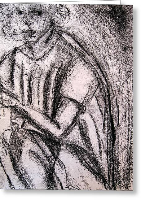 Pensive Drawings Greeting Cards - Pensive Greeting Card by Lessandra Grimley