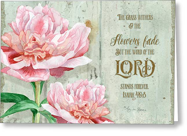 Board Mixed Media Greeting Cards - Peony at the Fence Greeting Card by Audrey Jeanne Roberts