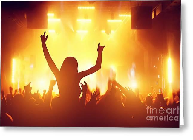 Applaud Photographs Greeting Cards - People having fun in night club Greeting Card by Michal Bednarek