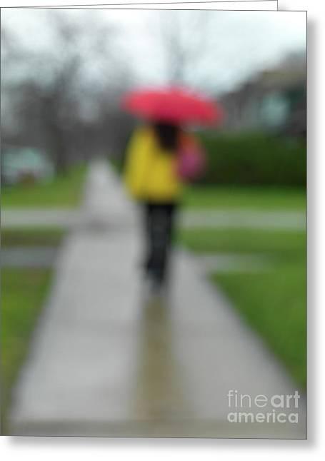 People In The Rain Greeting Card by Oleksiy Maksymenko