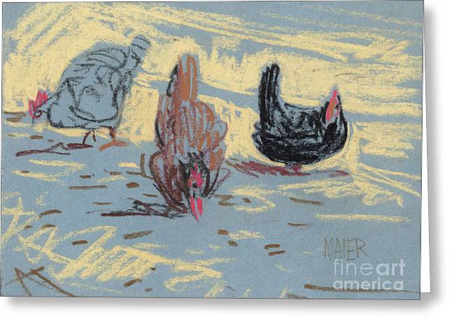 Plein Air Pastels Greeting Cards - Pepper Scratch and Pebbles Greeting Card by Donald Maier