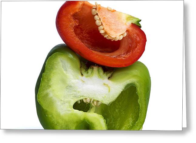 Capsicum Greeting Cards - Peppers Greeting Card by Bernard Jaubert