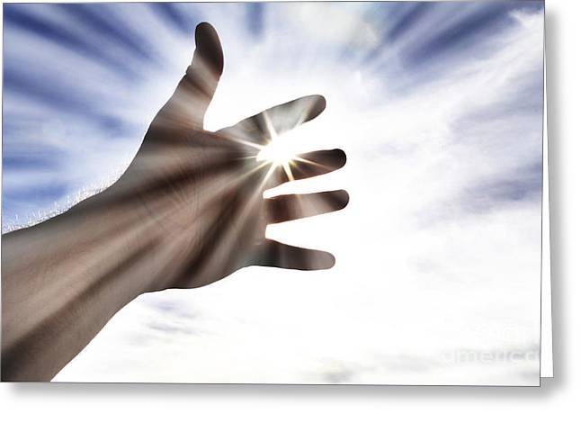 Praying Hands Greeting Cards - Persons Hand Reaching Towards Heaven Sunlight Greeting Card by Lane Erickson