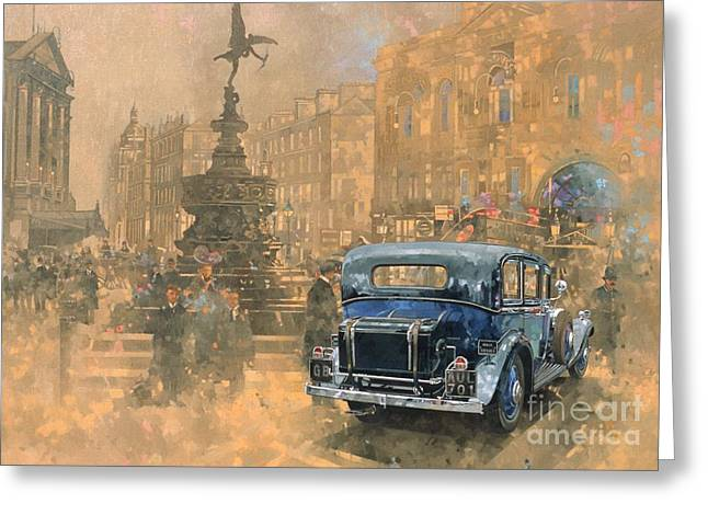 Vintage Cars Greeting Cards - Phantom in Piccadilly  Greeting Card by Peter Miller