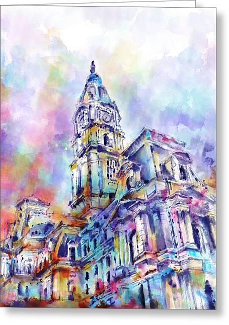 Philadelphia City Hall Greeting Card by Bekim Art