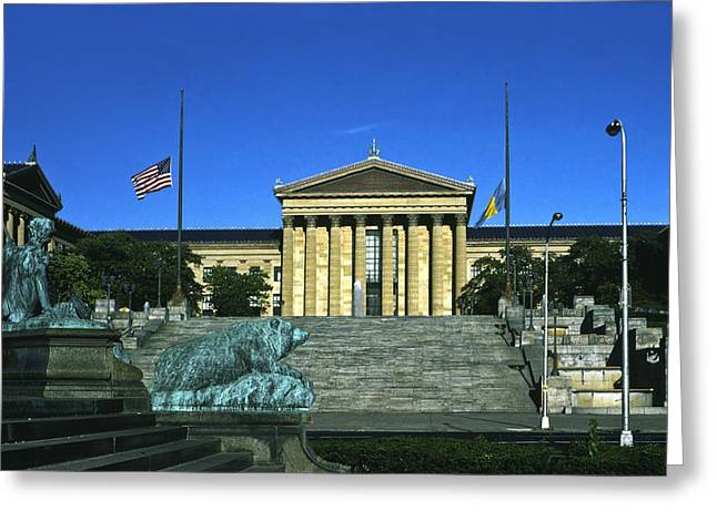 Fame Greeting Cards - Philadelphia Museum of Art Greeting Card by Sally Weigand