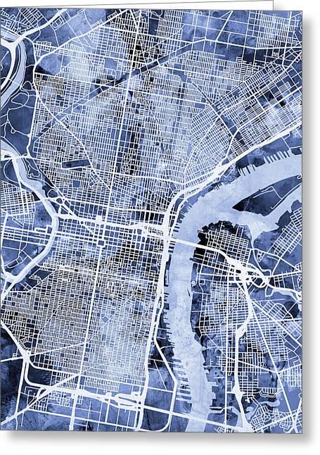 Philadelphia Pennsylvania City Street Map Greeting Card by Michael Tompsett