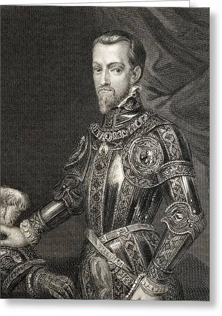 Naples Drawings Greeting Cards - Philip Ii 1527 To 1598. King Of Spain Greeting Card by Ken Welsh