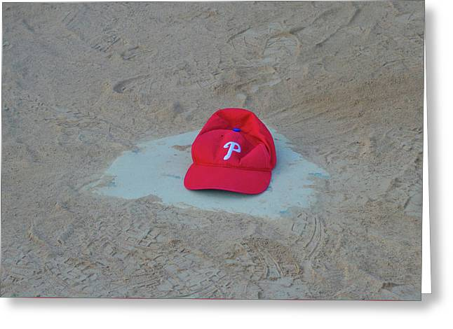 Phillies Hat On Home Plate Greeting Card by Bill Cannon
