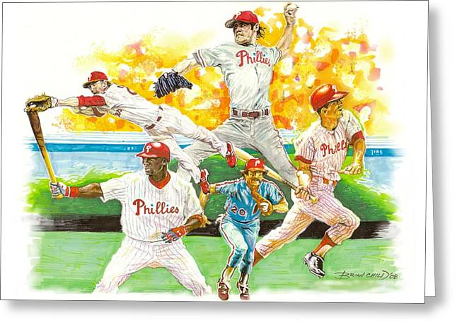 Phillies Mixed Media Greeting Cards - Phillies Through The Ages Greeting Card by Brian Child
