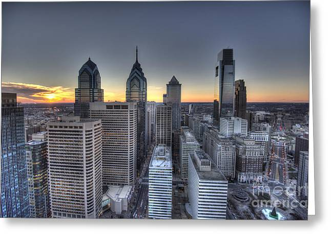 Williams Dam Greeting Cards - Philly Skyline Sunset from the Clouds Greeting Card by Mark Ayzenberg