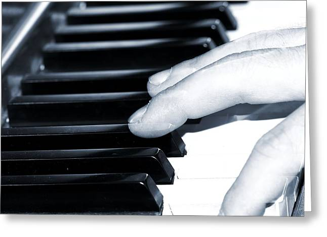 White Chopin Greeting Cards - Piano Man Greeting Card by Dan Sproul