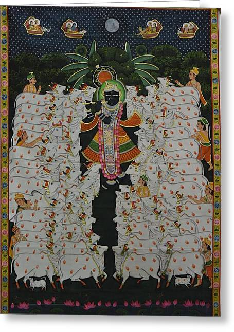 Gopala Greeting Cards - Pichwai 9 Greeting Card by Unknown