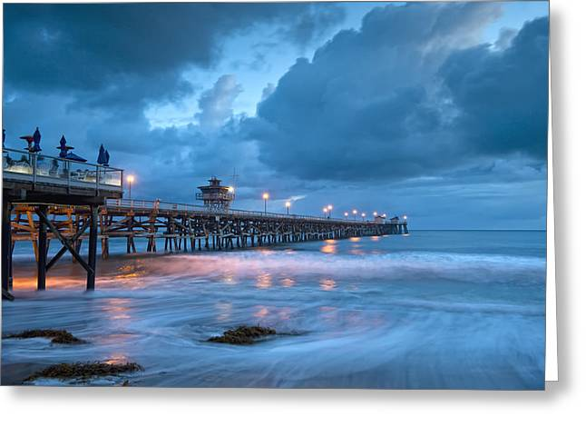 Pier In Blue Greeting Card by Gary Zuercher