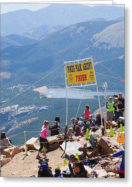 Footrace Photographs Greeting Cards - Pikes Peak Marathon and Ascent Greeting Card by Steve Krull