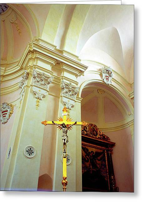 Pink Cathedral With Gold Cross Greeting Card by Martin Sugg