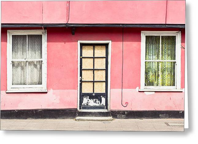 Renovation Greeting Cards - Pink cottage Greeting Card by Tom Gowanlock