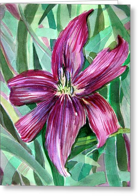 Pink Blossoms Drawings Greeting Cards - Pink Day Lily Greeting Card by Mindy Newman