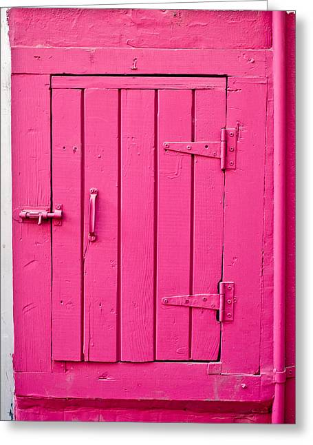Weathered Shutters Greeting Cards - Pink door Greeting Card by Tom Gowanlock