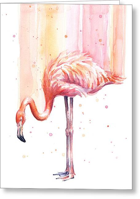 Pink Flamingo Watercolor Rain Greeting Card by Olga Shvartsur