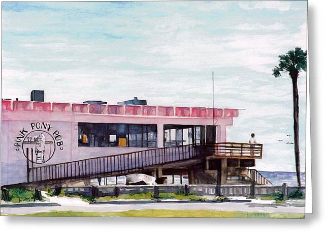 Brewer Paintings Greeting Cards - Pink Pony Pub Greeting Card by Cyndi Brewer