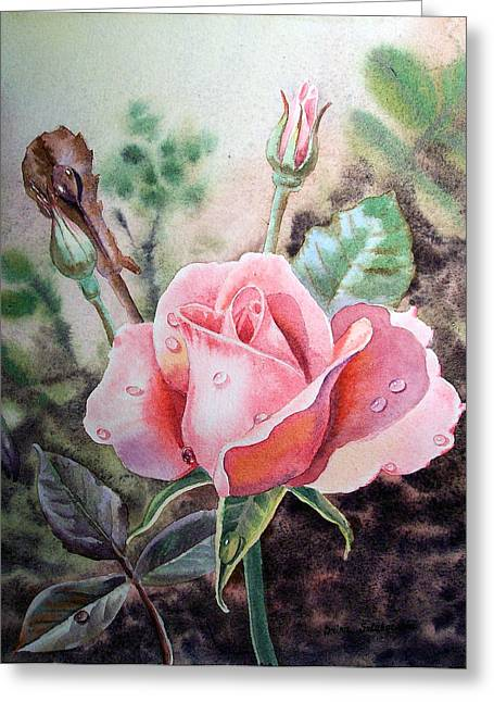 Dew Drop Greeting Cards - Pink Rose with Dew Drops Greeting Card by Irina Sztukowski
