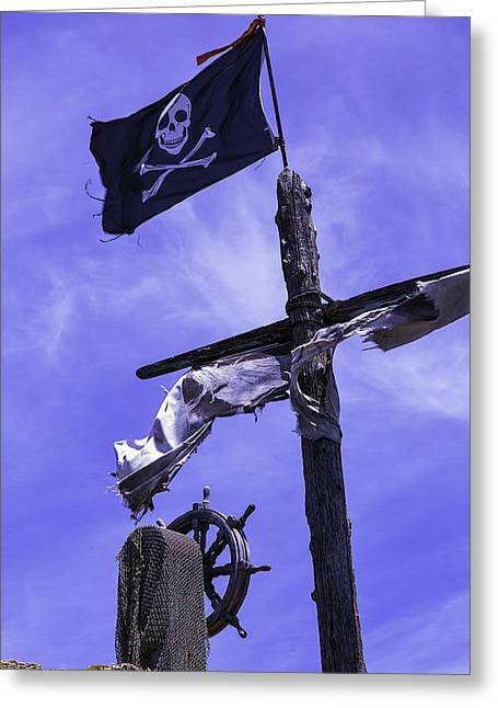 Pirates Photographs Greeting Cards - Pirate Flag On Ships Mast Greeting Card by Garry Gay