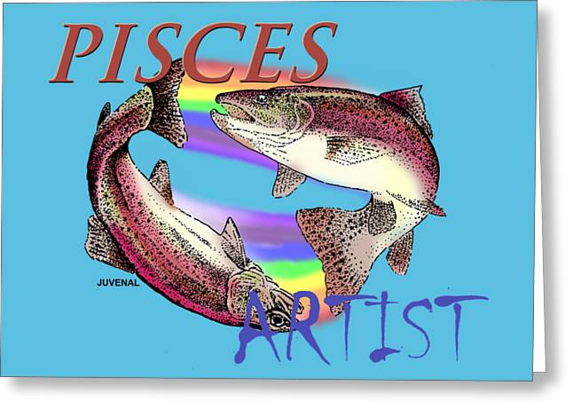 Rainbow Trout Greeting Cards - Pisces Artist Greeting Card by Joseph Juvenal