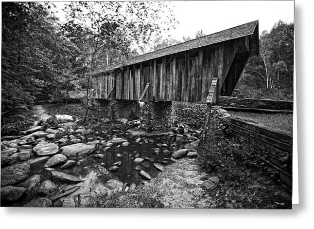 Covered Bridge Greeting Cards - Pisgah Covered Bridge in Black and White Greeting Card by Matt Plyler