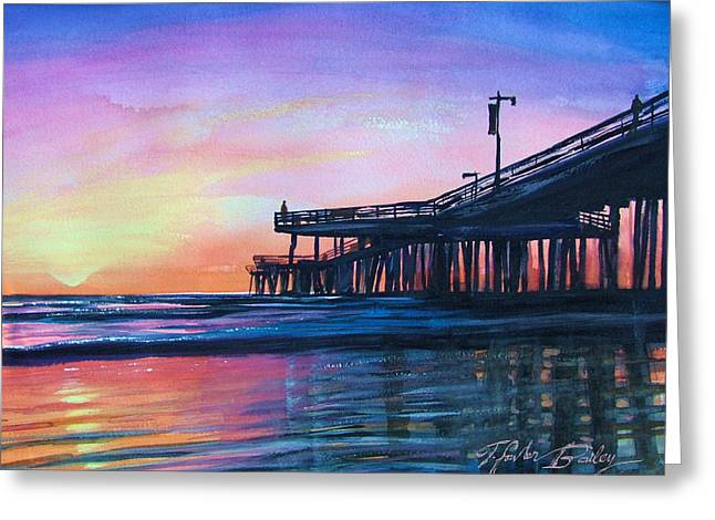 Therese Fowler-bailey Greeting Cards - Pismo Pier Sunset Greeting Card by Therese Fowler-Bailey