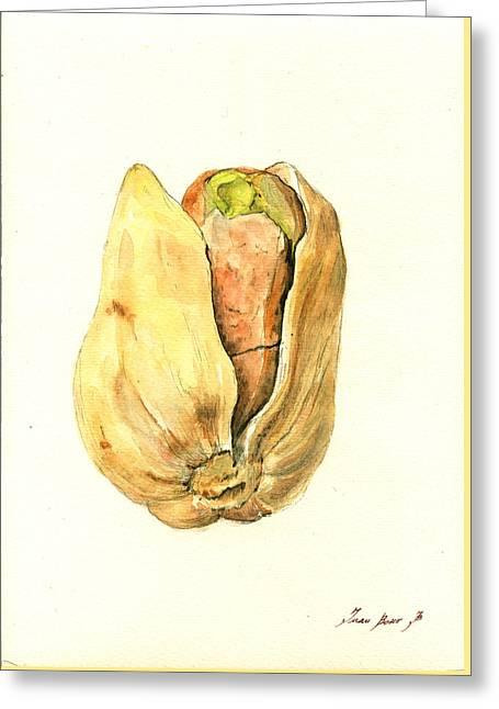 Botanical Art Greeting Cards - Pistachio Greeting Card by Juan  Bosco