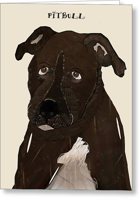 Pitty Greeting Cards - Pit Bull Greeting Card by Bri Buckley