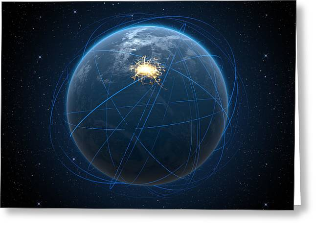 Abstract Movement Greeting Cards - Planet With Illuminated City And Light Trails Greeting Card by Allan Swart