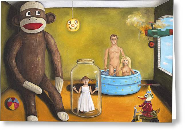 Playroom Nightmare 2 Greeting Card by Leah Saulnier The Painting Maniac