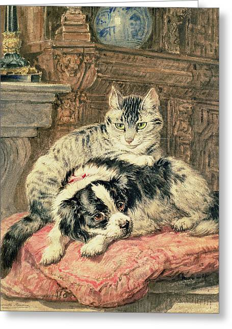 Playtime Greeting Card by Henriette Ronner-Knip