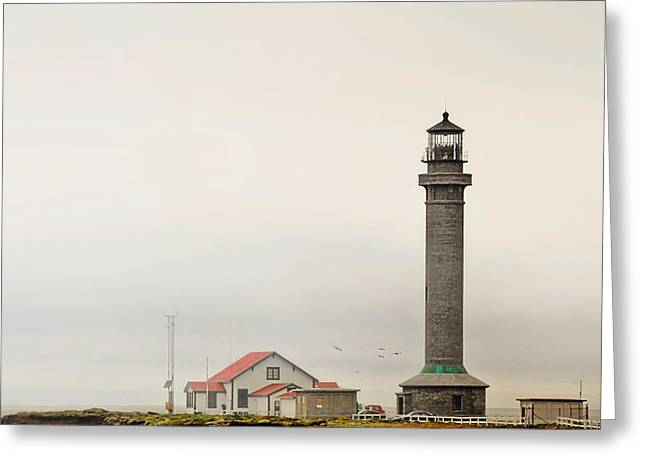 Mist Greeting Cards - Point Arena Lighthouse CA Greeting Card by Christine Till