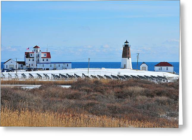 New England Lighthouse Greeting Cards - Point Judith Light Greeting Card by Catherine Reusch  Daley