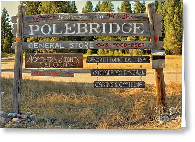 North Fork Greeting Cards - Polebrdge Welcome Sign Greeting Card by Adam Jewell
