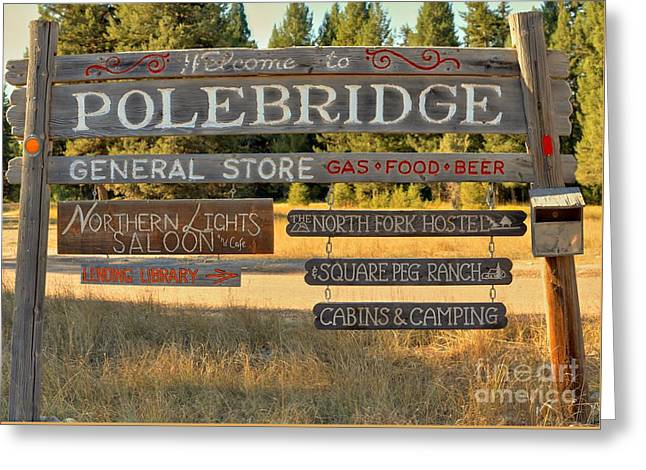 North Fork Greeting Cards - Polebridge Business Directory Greeting Card by Adam Jewell