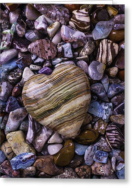Colored Stones Greeting Cards - Polished Heart Stone Greeting Card by Garry Gay