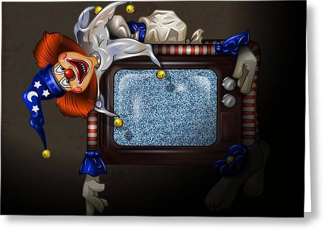 Scary Clown Greeting Cards - Poltergeist Clown Greeting Card by Andy Bauer