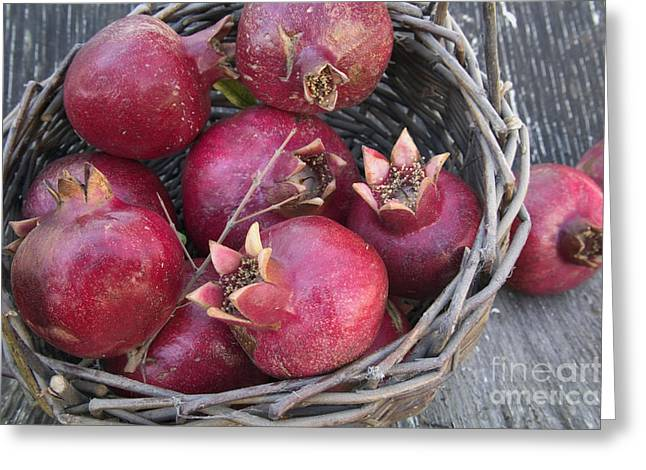 Punica Granatum Greeting Cards - Pomegranates In A Basket Greeting Card by Inga Spence