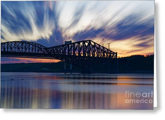 St. Laurent Greeting Cards - Pont de Quebec sunset Greeting Card by Colin Woods