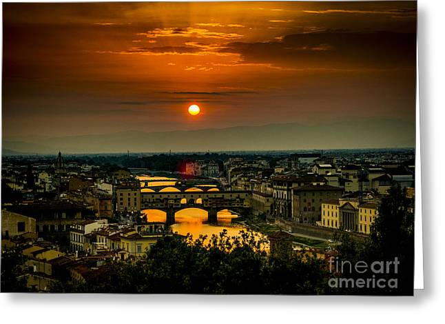Tuscan Sunset Greeting Cards - Ponte Vecchio at sunset and the river Arno Florence Italy Greeting Card by Bailey Cooper Photography
