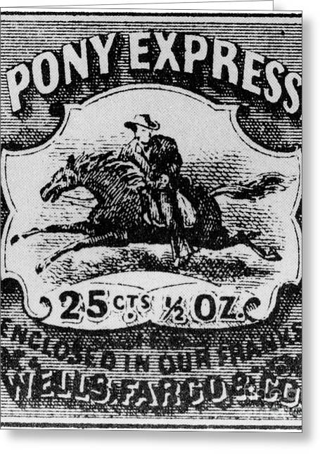 Postal Service Greeting Cards - Pony Express Stamp Greeting Card by Photo Researchers, Inc.