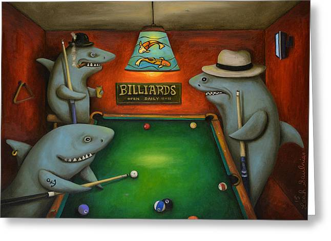 Rack Paintings Greeting Cards - Pool Sharks Greeting Card by Leah Saulnier The Painting Maniac