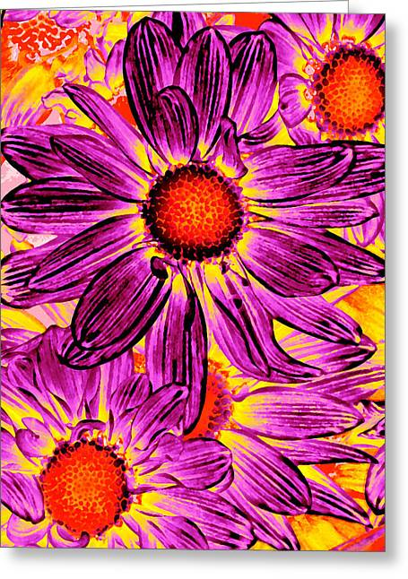 Colorful Abstract Greeting Cards - Pop Art Daisies 16 Greeting Card by Amy Vangsgard