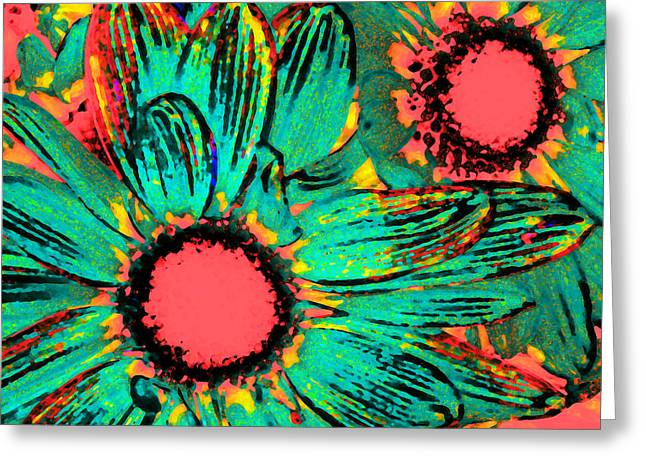 Red Greeting Cards - Pop Art Daisies 3 Greeting Card by Amy Vangsgard