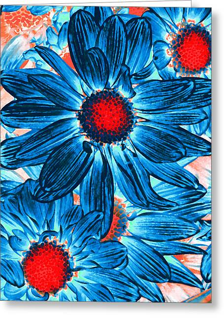 Red Abstract Greeting Cards - Pop Art Daisies 9 Greeting Card by Amy Vangsgard